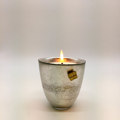 Silver leafed candle