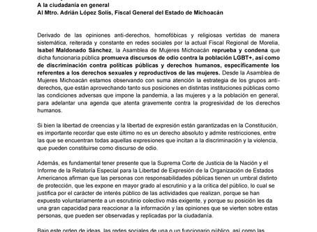Posicionamiento: Sobre las declaraciones anti-derechos de la Fiscal Regional de Morelia