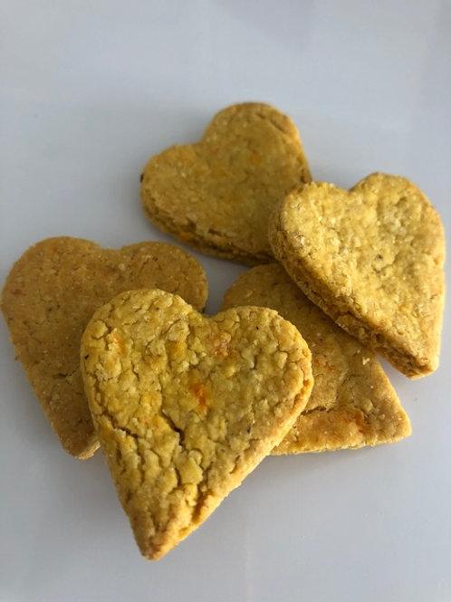 Sweet potato and coconut dog biscuits - mini hearts