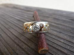 Bague Or jaune - Argent - Diamants
