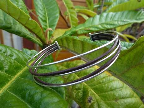 Bracelet Fil Argent - Fil Cuir