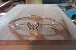 Bracelet papillon - fleurs - Argent