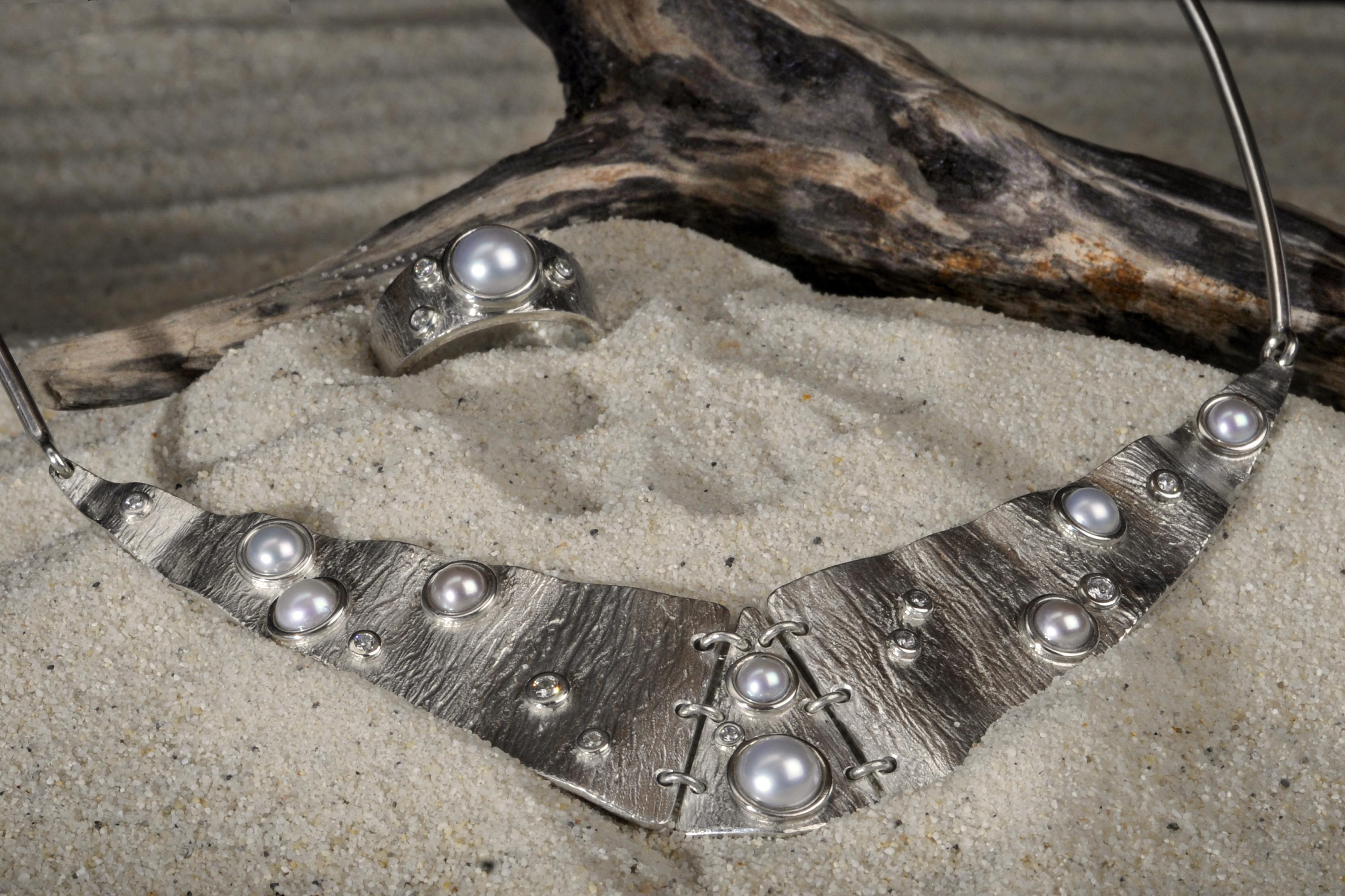 Tour de cou Argent - Perles-Zircons