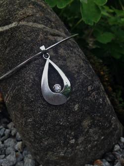 Pendentif or gris - diamant