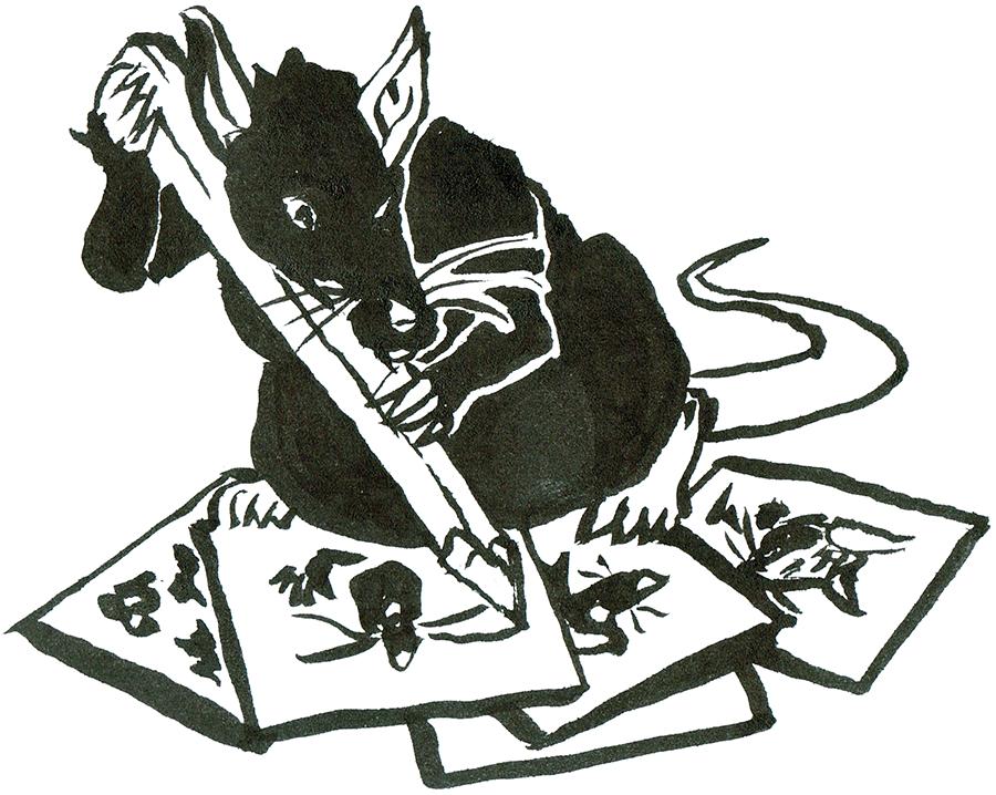Rat working away on various sketchs.
