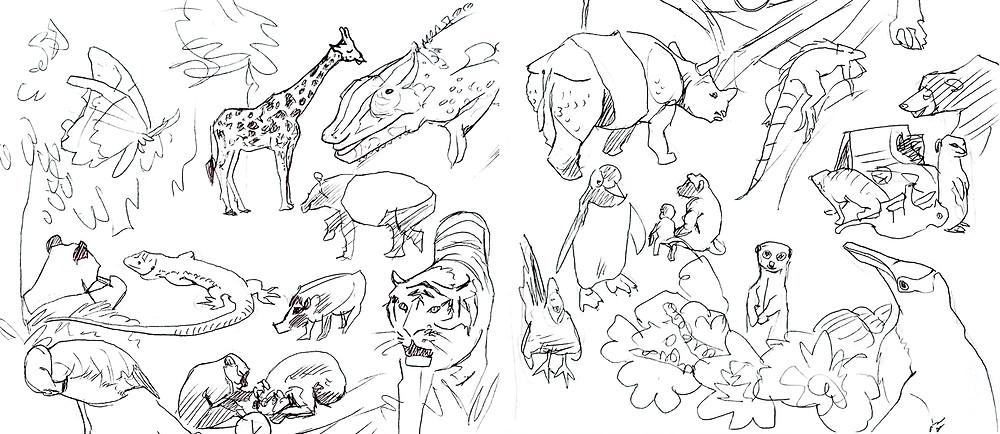 Dessins aux stylos noir sur fond blanc de divers animaux au Zoo, incluant un Giraffe, un Tigre, un Rhinoceros et des pingouins.