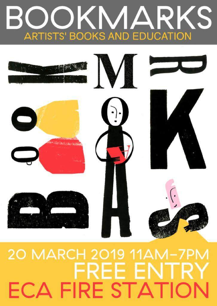 Bookmarks ECA flyer, Artists' books and education fair.