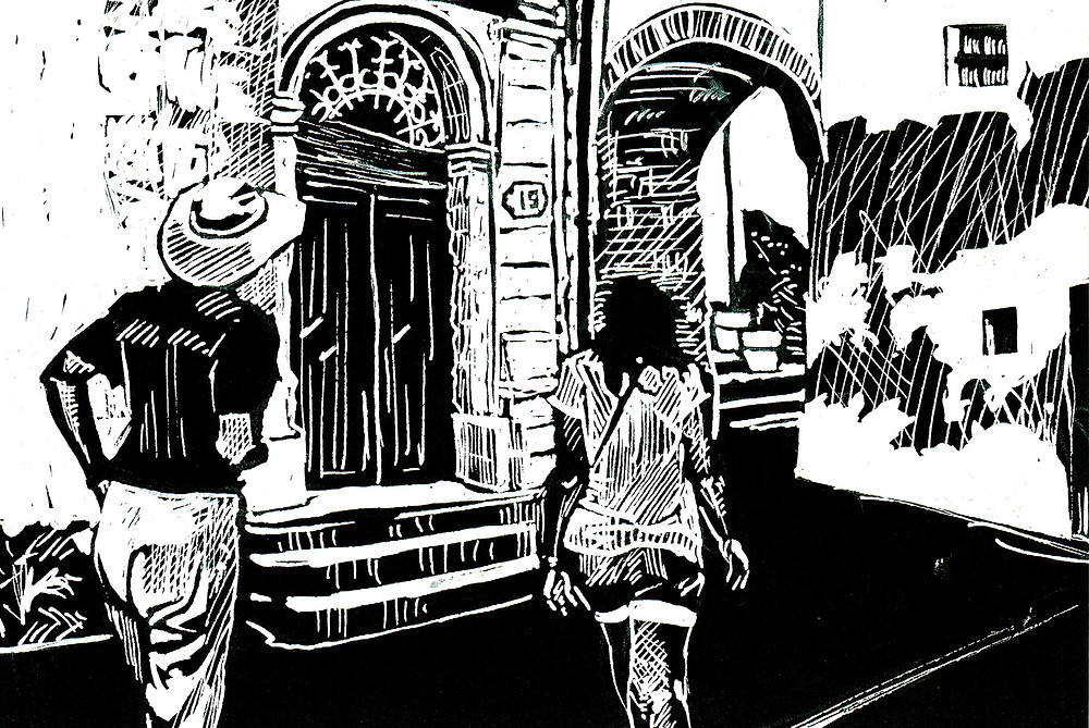 Explore - Two people walking in an alley past a door to an arch, white on black drawing.