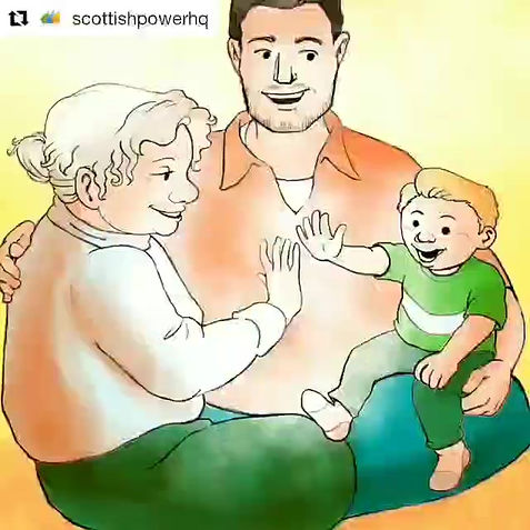 Scottish Power: 20 Reasons to Smile. Family illustration by Natalie Rowland.