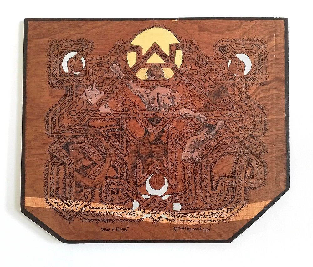 Pyrography on Wood featuring celtic knotwork with entangled characters.
