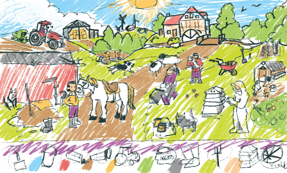 A scene of a hilly farm with several animals.