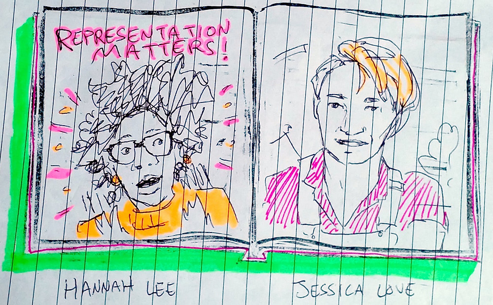 Sketch from Video Talk featuring Hannah Lee and Jessica Love.