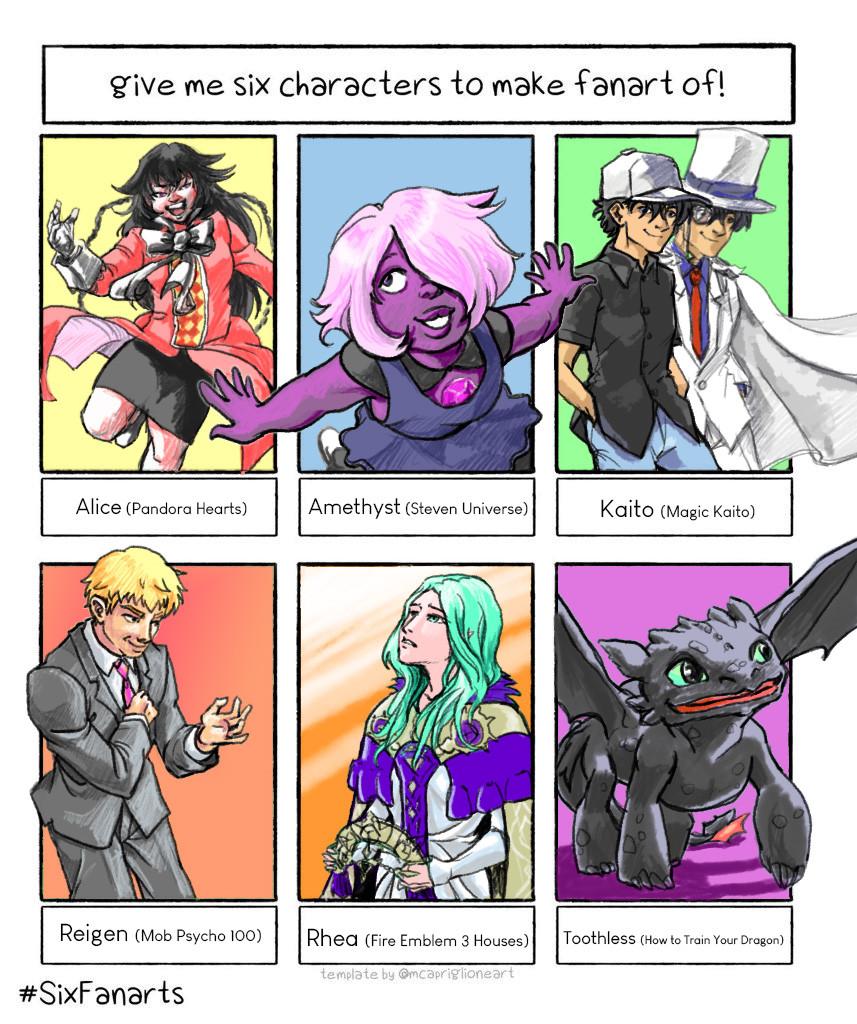 Dessins Digitaux de 6 personnages de séries diverses.