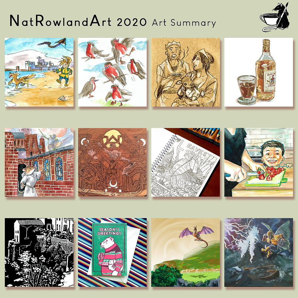 A selection of artwork snapshots made by illustrato Natalie Rowland in 2020.