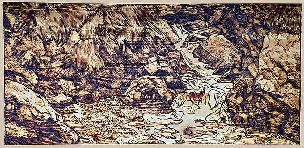 Waterfall Pyrography Image
