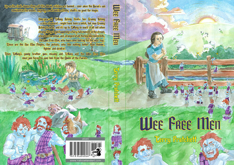 Cover design for Wee Free Men by Terry Pratchett