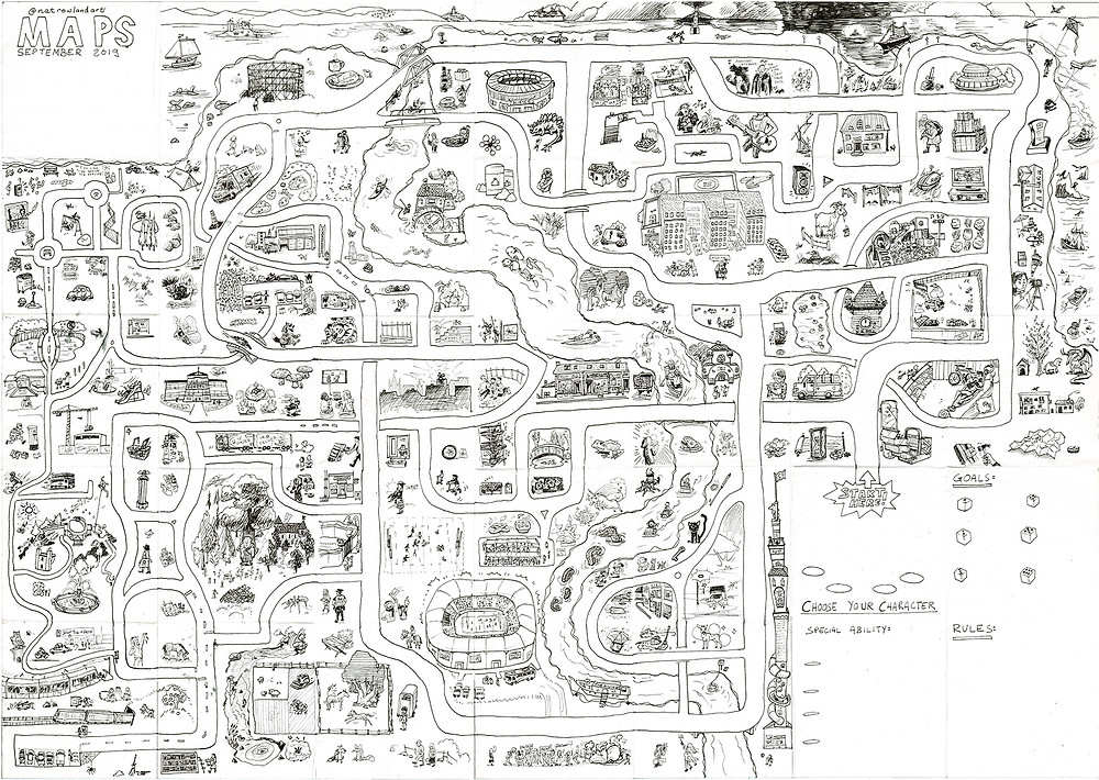 Black and white pen drawing of roads with various scenes and landmarks, including room for rules to make a boardgame of it.