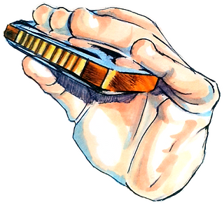 Harmonica Hand Logo by Natalie Rowland.
