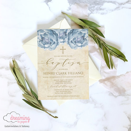 Antique Vintage Blue Peonies Gold Baptism Invitation