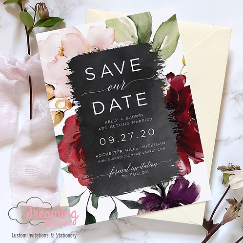 watercolor save the dates, burgundy wedding, burgundy blush wedding, modern save the date, modern invite
