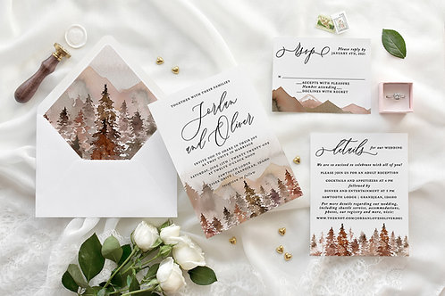 Rustic Fall Mountain Forest Watercolor Wedding Invitations 421
