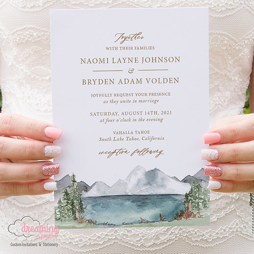 Rustic Lake and Mountains Wedding Invitations 401