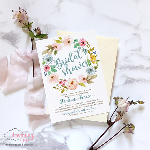 Cute and Modern Blooms Wreath Bridal Shower Invitation