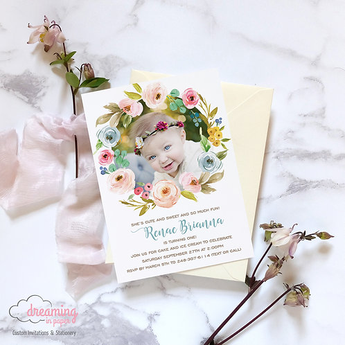 Little Flower Floral Wreath Birthday Invitation - with Photo!