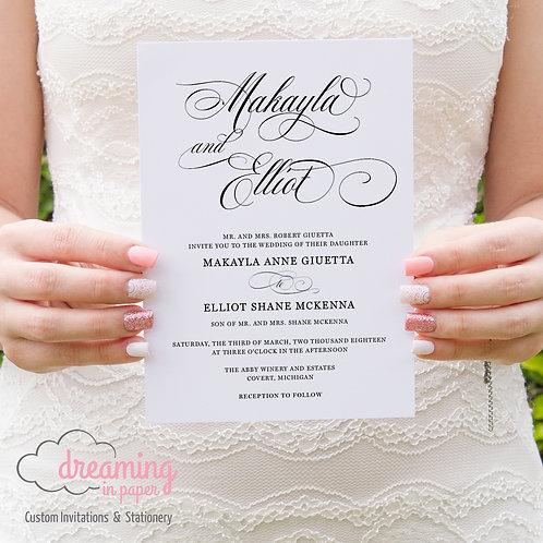 Classic Script Mozart Wedding Invitation Set