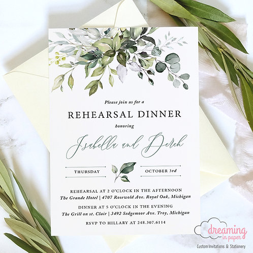 Bursting Greenery Lisima Rehearsal Dinner Invitation