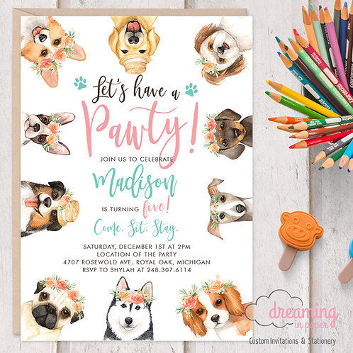 Puppy Pawty Dog Birthday Invitations