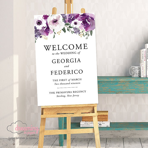 Purple Floral Classic Wedding Welcome Sign