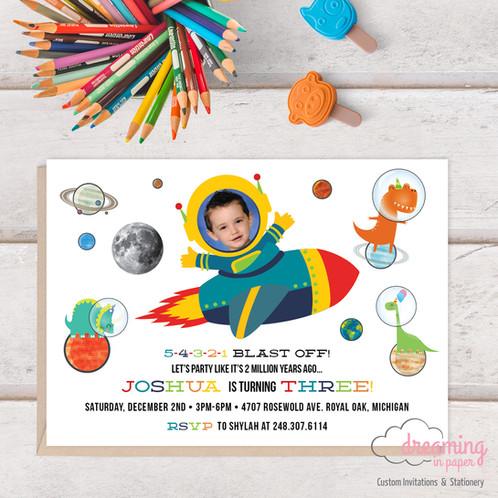 Birthday Invitation Galaxy Space Ship Astronaut Dinosaur Photo Boy
