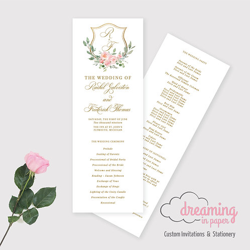 Blush Floral Gold Crest Wedding Ceremony Program 197