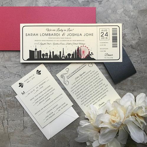 Las Vegas Ticket Style Wedding Invitations 085