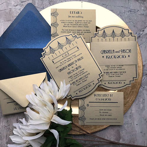 Gatsby Art Deco Geometric Die Cut Wedding Invitations