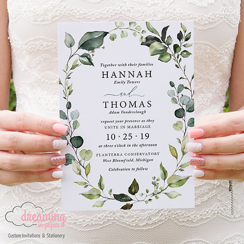 Greenery Eucalyptus Botanical Wreath Wedding Invitations 253