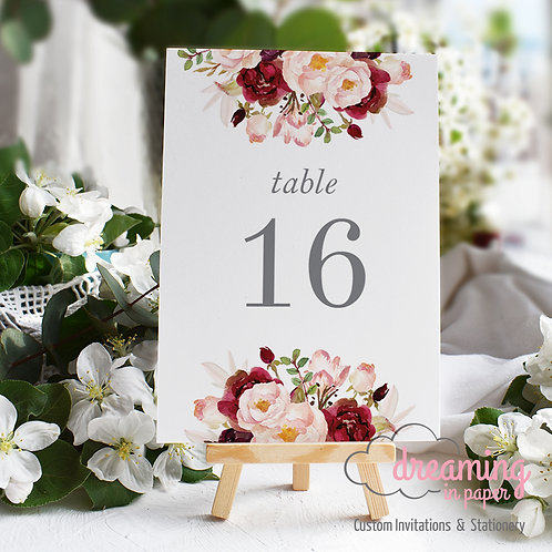 Boho Marsala Floral Drop Table Numbers