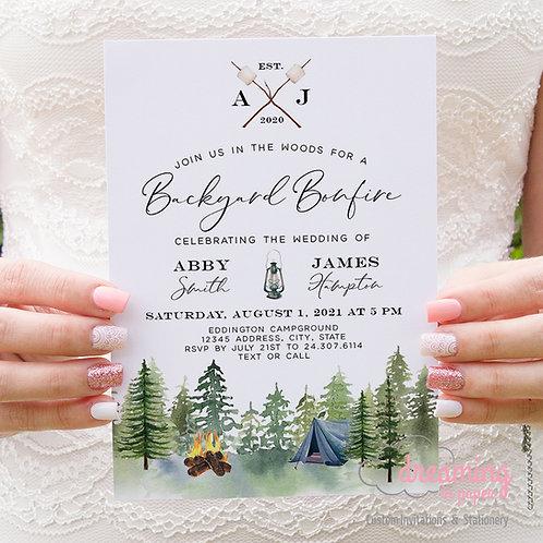 rustic campfire wedding, camping wedding invite, camping invite, forest wedding, bonfire wedding, bonfire invite, tent