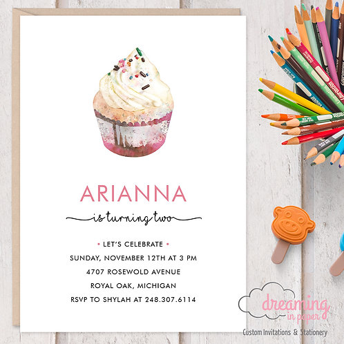 Cupcake Birthday Invitation Pink Girl