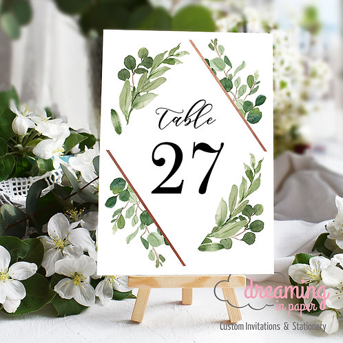 Wild Diamond Greenery Table Numbers