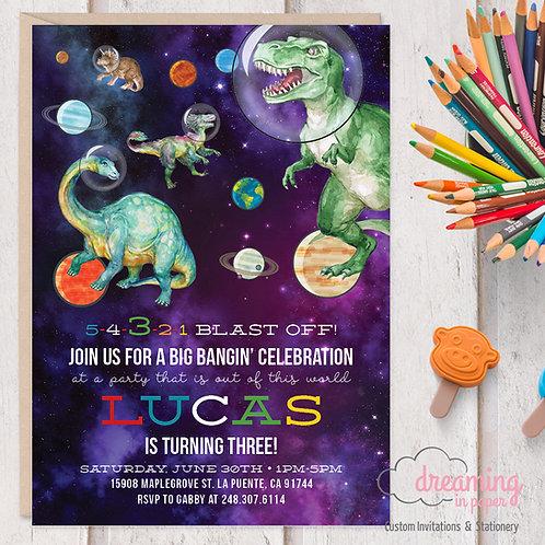 Space Dinosaur Galaxy Birthday Invitations