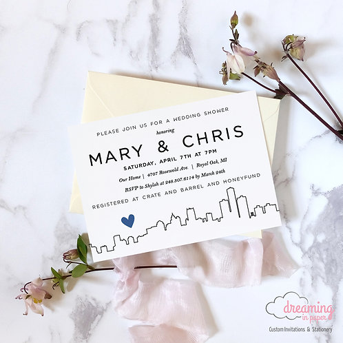 City Skyline Modern Bridal Shower Invitation - Almost any big city is available!