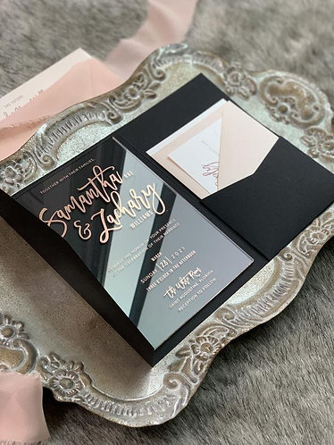 Clear Acrylic Screen Print Pocket Invitations Blush and Black