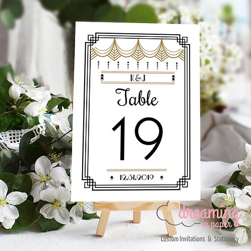 Gatsby Art Deco Table Numbers