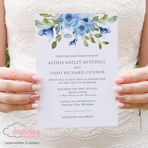Dusty Blue Floral & Greenery Wedding Invitation 208