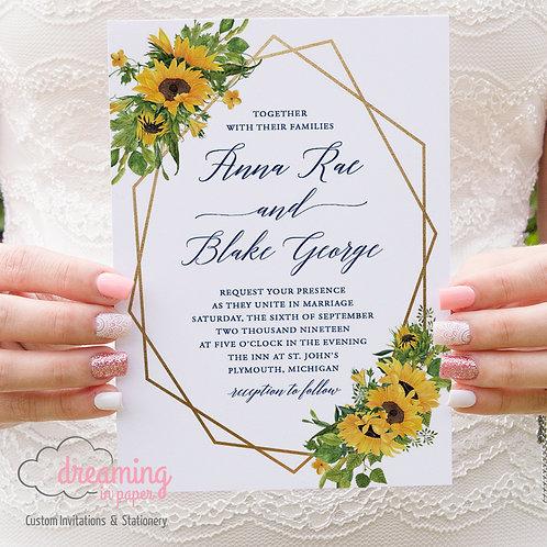Sunflowers Gold Geometric Invitations 287
