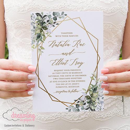 Geometric Greenery Eucalyptus Botanical Wedding Invitations 254