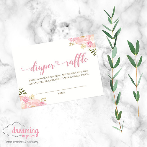 Diaper Raffle Ticket / Card - Coordinates with Pink Peony Shower Invite