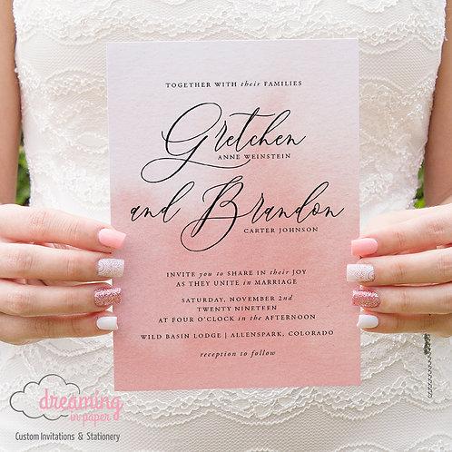Blush Pink Watercolor Wedding Invitations 236